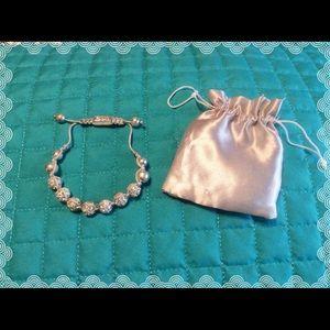 Rhinestone beaded adjustable rope bracelet